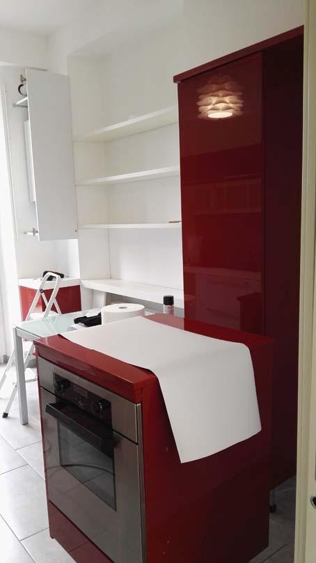 decorazione mobili cucina da rosso a bianco