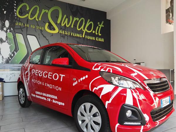 Decorazione Peugeot 108 concessionaria Carlo Galbusera